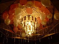 Украшение праздника воздушными шарами с гелием под потолок
